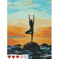 STK Картина по номерах Йога на березі моря, кольорове полотно   лак, 40*50 см, без коробки Barvi
