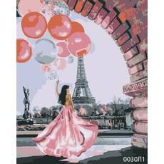 STK Картина по номерах Повітряні кулі, Париж, кольорове полотно, 40*50 см, без коробки Barvi