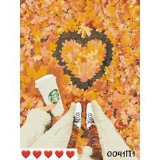 STK Картина по номерах Осінь і каву, кольорове полотно   лак, 40*50 см, без коробки Barvi
