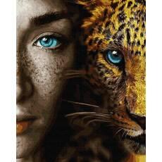 STK Картина по номерах Дівчина і кішка  без коробки, Никитошка, 40*50 см