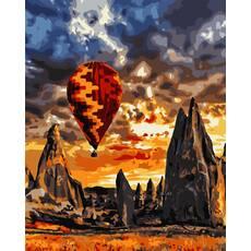 """STK Картина по номерам """"Закат на воздушном шаре"""" 40*50 см в коробке, ArtStory + акриловый лак"""