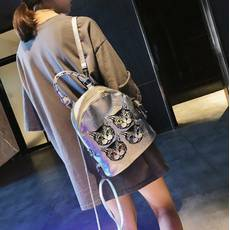 STK Небольшой рюкзак с мордочками серебристый