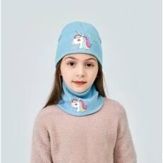STK Шапочка Единорог и шарфик-повязка для девочки голубой