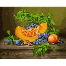 STK Картина по номерам. Дары осени- виноград, тыква, слива, 40*50 см, Brushme без коробки+лак