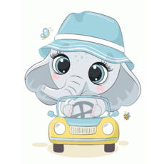 """STK Картина по номерам """"Слоник в авто"""" для детей в коробке, 30*40 см"""