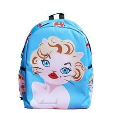 STK Голубой рюкзак Мэрилин Монро с котейкой