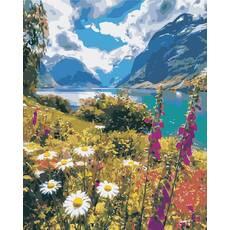 """STK Картина по номерам """"Горная река"""" 40*50 см в коробке, ArtStory + акриловый лак"""