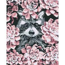STK Картина по номерам Енот в цветах, цветной холст, 40*50 см, без коробки Barvi