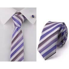 STK Галстук белый в фиолетовую полоску