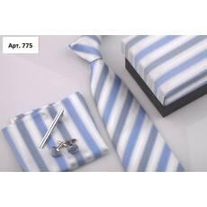 STK Подарунковий блакитний набір: краватка, запонки, хустка, затиск