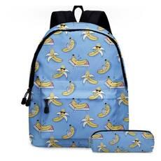 STK Рюкзак с пеналом голубой Бананы