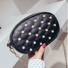 STK Черная поясная сумка с жемчугом