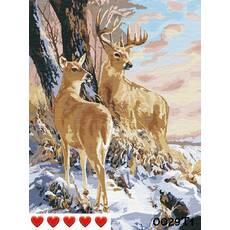 STK Картина по номерам Олени цветной холст, 40*50 см, без коробки, ТМ Barvi+ ЛАК