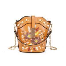STK Коричневая сумка с жемчугом и вышивкой