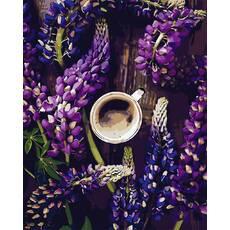 """STK Картина по номерах """"Кави і квіти лаванди"""" 40*50 см в коробці, ArtStory   акриловий лак"""