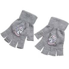 STK Перчатки единороги светло-розовые серый