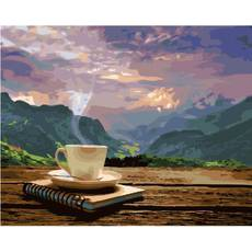 STK Картина по номерам. Кофе, 40*50 см, Brushme в коробке+лак
