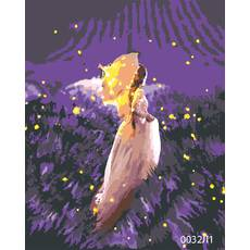 STK Картина по номерам Девушка на лавандовом поле, цветной холст, 40*50 см, без коробки Barvi
