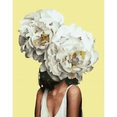 STK Картина по номерам. Эми Джадд Портрет с пионами, 40*50 см, Brushme, Премиум, цветной холст, лак  в комплекте в коробке+лак