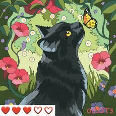 STK Картина по номерам Кошка, цветной холст, 30*30 см, без коробки, ТМ Barvi+ ЛАК