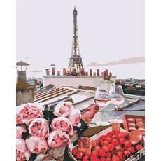 STK Картина по номерам Пикник на крыше Парижа, цветной холст, 40*50 см, без коробки Barvi