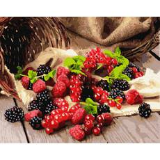 STK Картина по номерах. Ягоды: ожина, малина, смородина, 40*50 см, Brushme в коробці