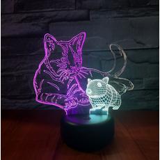 STK Нічник 3д двоколірний. Мишка і котик