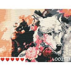 STK Картина по номерам Девушка и волк, цветной холст + лак, 40*50 см, без коробки Barvi