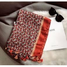STK Палантин с принтом женский красный