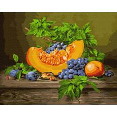 STK Картина по номерам. Дары осени- виноград, тыква, слива, 40*50 см, Brushme в коробке+лак
