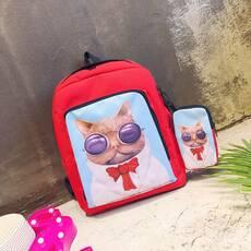 STK Стильний червоний рюкзак з чохлом Кіт Базиліо