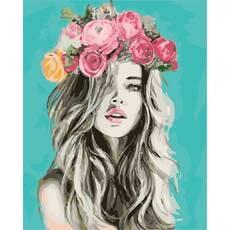 """STK Картина по номерам """"Девушка в цветочном венке"""" 40*50 см в коробке, ArtStory + акриловый лак"""