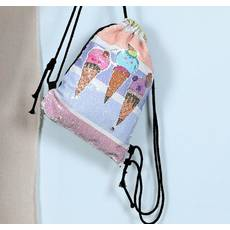 STK Рюкзак-мішок  для сменки в паетках з морозивом
