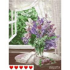 STK Картина по номерах Бузок біля вікна, кольорове полотно, 40*50 см, без коробки, ТМ Barvi  ЛАК