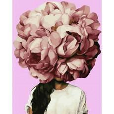 STK Картина по номерах. Емі Джадд Піони, 40*50 см, Brushme, Преміум, кольорове полотно, лак  в комплекті