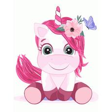 """STK Картина по номерах """"Рожевий одноріг"""" для дітей в коробці, 30*40 см"""