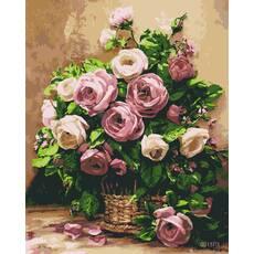 STK Картина по номерах Букет троянд, кольорове полотно, 40*50 см, без коробки Barvi