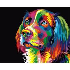 STK Картина по номерам Радужный пес, цветной холст, 40*50 см, без коробки Barvi