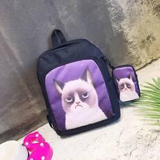 STK Стильный черный рюкзак с чехлом Сердитый кот