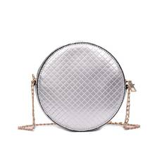 STK Сумка кроссбоди лаковая круглая серебро