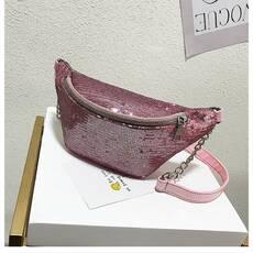 STK Поясная сумка, бананка в паетках  розовый