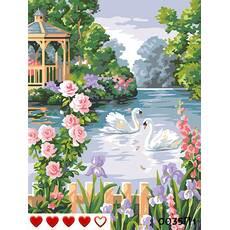 STK Картина по номерах 2 лебеді, кольорове полотно   лак, 40*50 см, без коробки Barvi
