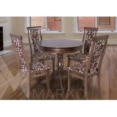 """Комплект круглий стіл зі стільцями """"Едельвейс"""" горіх темний, купити у роздріб або оптом"""