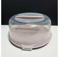 Пластиковая тортовница с крышкой-куполом 34 см с защёлками
