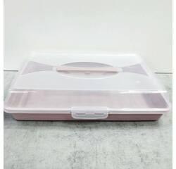 Прямоугольная пластиковая тортовница с крышкой 44 х 30 х 9,5 см с защёлками