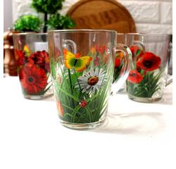 Стеклянная чайная кружка с цветами ОСЗ 330 мл