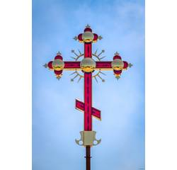 Хрест накупольний декоративний, червоний