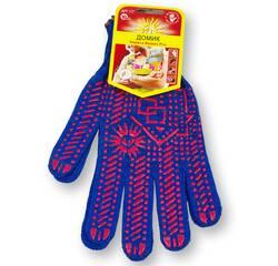 Перчатки с ПВХ точкой, 10 класс вязки, синие