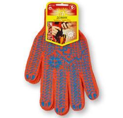 Перчатки с ПВХ точкой, 10 класс вязки, оранжевые