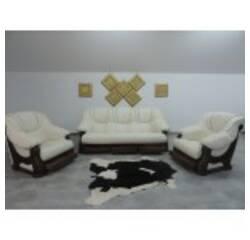 Шкіряний комплект меблів на дубі LEON 3+1+1